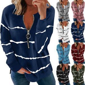 Womens Zipper Loose Shirt Tee Striped Blouse Sweatshirt Long Sleeve Ladies Tops