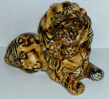 "La Vie Lion Figure Ceramic Chintz Figurine Animal Print Patchwork 8"" By 6"""