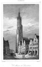 Landshut, Ansicht mit Marienkirche, Original-Stahlstich von 1838