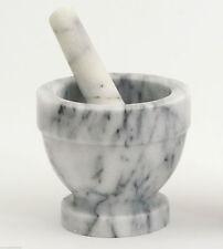 Mortaio in Marmo Bianco + Pestello White Marble Mortar + Pestle Vase 12x12CM