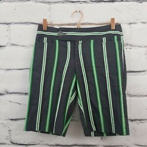 Nanette Lepore Womens Shorts Size 6 Navy Blue Striped Cotton Bermuda Casual