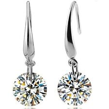 Womens Earrings Round Crystal Hook Drop Dangle Stud 925 Sterling Silver Plated