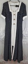 Women Vtg Farouche by Lori Weidner Retro black white polka dot dress Sz 10 Rayon