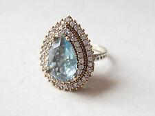 Aquamarine 925 Sterling Silver Hurrem Sultan Drop Ring Sz 7.75 Turkish Jewelry