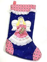 "Vintage Pink & Blue Angel Patchwork Christmas Stocking Avon  16"""