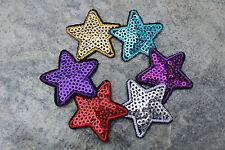 5 Aufbügler Applikation Aufnäher Stern mit Pailletten 3,5 cm 35 mm Farbwahl