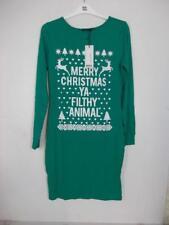 "BOOHOO ""Merry Christmas Ya Filthy Animal"" Bodycon Dress Green Size UK 14B52"
