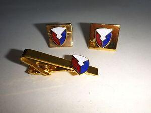 Paire USAF Matériel Command Manchette Maillons + Assorti Tie Fermoir Barre -