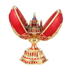 Russian Faberge Egg Church of the Savior on Blood St.-Petersburg 4.7'' 12cm red