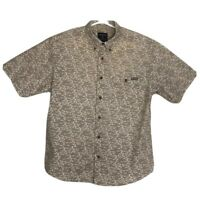 Woolrich Mens Button Down Shirt Size Large Dark Beige Swordfish Marlin Print