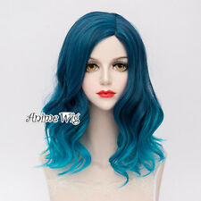Lolita Mixed Blue Medium 45CM Wavy Ombre Fashion Party Cosplay Wig + Wig Cap