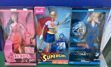 "Barbie MARVEL (3) Doll LOT - ELEKTRA, INVISIBLE WOMAN & SUPERGIRL 12"" MIB"