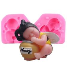 Cute 3D Sleeping Baby Bee Mold Cake DIY Decorating Resin Clay Candle Moulds