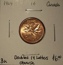 Canada Elizabeth II 1964 Doubled 14 Letters Obv Small Cent - BU