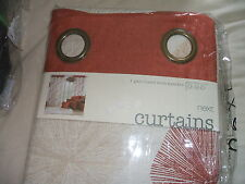BNIP Next Fossil Autumn Colourway Lined Gold Eyelet Curtains 54 Drop x 53 Wide