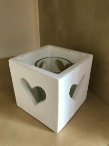 Handcrafted Wooden Candle Holder T-Light Heart Cube Table Center Piece Gift Home