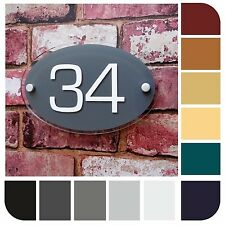 HOUSE NAME SIGNS DOOR NUMBER ADDRESS PLAQUES 'OVAL' Choice of Colours Available