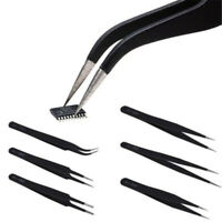 6Pcs/Kit Precision ESD Anti-Static Stainless Steel Tweezers Set For Electronic