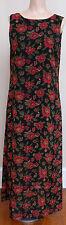 Women's Fashion Bug Floral Dress Sz 12 Black Red Sundress Maxi Dress Sleeveless