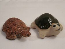 Pair Of Old Small Turtle Figurines ~ 1 Rubber Tortoise ~ 1 Stoneware Turtle