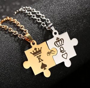 King Queen Stainless Steel Puzzle Necklace Valentine Birthday Couple Lover Gift