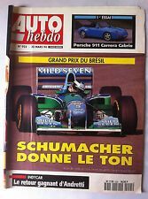 AUTO HEBDO 925 du 30/3/1994; Essai Porsche 911 Carrera Cab/ Grand Prix du Brésil