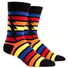Sock It To Me Red Blue Striped Lightning Bolt Superhero Mens Black Crew Socks