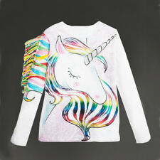Unique Toddler Kids Girls Summer Long Sleeve Unicorn Tops T-shirt Clothes 1-6Y