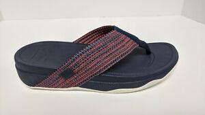 FitFlop Surfa Thong Sandals, Blue/Orange, Women's 8 M