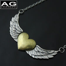 """Love heart wing vintage style pendant 32"""" chain necklace US SELLER"""