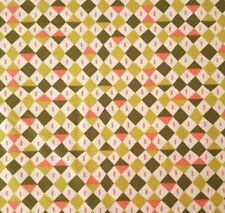 In The Sahara BTY Katy Tanis Blend Fabrics Diamond Coral Olive Green White