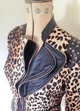 Femmes Imprimé Léopard Clouté Fashion Style Motard Veste UK 10/12 - Voir Taille