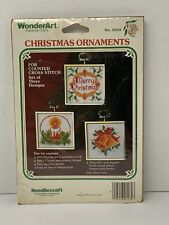 Vintage WonderArt Ornaments Counted Cross Stitch Merry Christmas Candle Bells