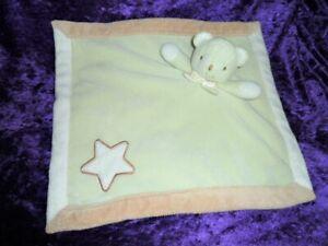 "BLANKETS & BEYOND BEAR green tan edge tan star white satin security blanket 15"""