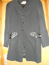Schwarz Vintage Lange Linie Box Jacke Krepp 10 Gary Weber Smart Gothic Retro Folie