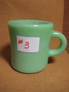 Fire King Green Jadeite Restaurant Ware Coffee Mug Cup  3 1/2  inches tall #3
