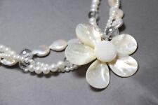 "Pearl Shell & Quartz Crystal Necklace 3 strand Flower Pendant 22"" Bridal Wedding"