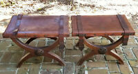 PAIR of ANTIQUE FORGED IRON LEATHER SADDLE SEAT X BASE CURULE STOOL