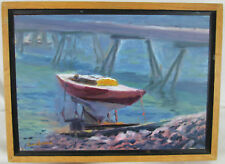 "Original Oil Painting ""Haul Out"" by William Landmesser Maine Artist Sailboat"
