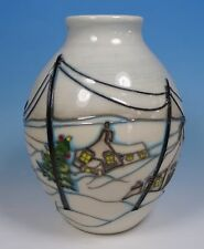 """MOORCROFT Home For Christmas New For Xmas 2017 3/5 5"""" Vase 1st RRP £310"""