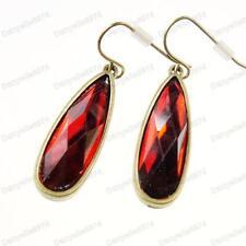 RED FACETED TEARDROP EARRINGS vintage brass JEWEL rhinestone DROP jewelled facet