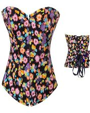NEW SIZE LARGE BLACK DENIM BUTTERFLY-FLORAL PRINT SWEETHEART NECKLINE CORSET