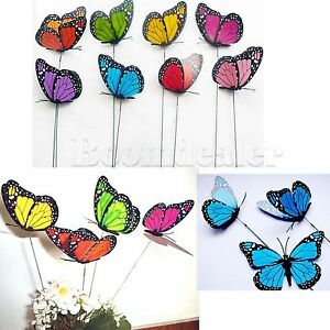 6/12/24/50pcs 3D Colorful Artificial Butterflies Iron Wire Party Home Decorate