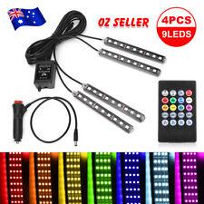 RGB 7 Color LED Car Interior Strip Light with Remote 12V 4 Pieces