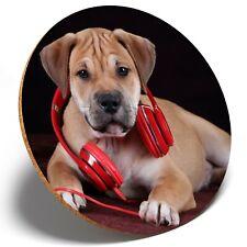 1 x Cute Headphone Puppy Dog - Round Coaster Kitchen Student Kids Gift #3342