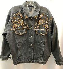 Black denim jacket, jeweled in amber color stones size 6