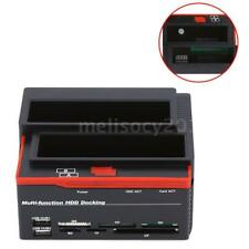 "2.5""/3.5"" SATA IDE HDD USB HUB Docking Station OTB Hard Drive DISK +Card Reader"