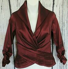 Tadashi Collection Formal Evening Blouse Ruby Red Event Wear 3/4 Sleeve Size 2