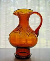 Tiara Indiana Glass Amber Hurricane Pitcher Vase
