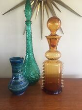 Vintage Genie Bottle Style Victorian Glass Amber Bottle 40cm